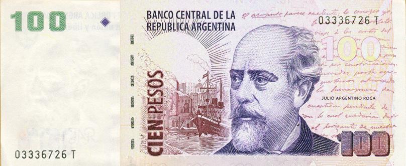 imagen en miniatura del billete de 100 pesos serie T